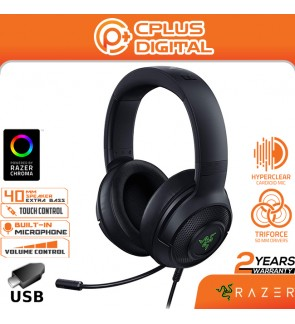 Razer Kraken V3X Gaming Headset: 7.1 Surround Sound - Triforce 40mm Drivers - HyperClear Cardioid Mic - Chroma RGB