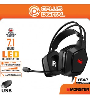 Monster Airmars N1 USB + 3.5mm Audio Gaming 7.1 Sound Noise Cancelling Headset with Microphone