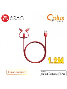 Adam Elements Peak Trio 120B USB to Type C+ Micro USB + Lightning Cable 1.2M