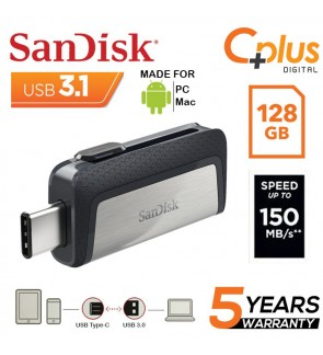 SanDisk Ultra Dual 128GB 150MB/s OTG Type-C USB 3.1 Flash Drive for Android Smartphone, Computers & Tablets (SDDDC2-128G-G46)