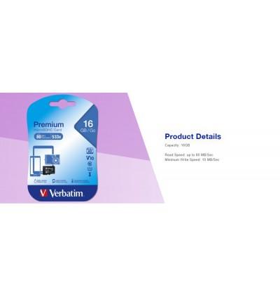 Verbatim microSDHC, 32GB, C10, 80MB/S Without Adapter