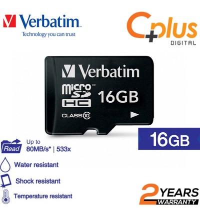 Verbatim microSDHC C10, 80MB/S Without Adapter 16GB/32GB/64GB