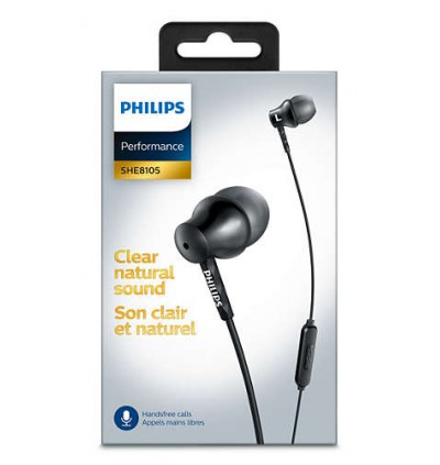 Philips SHE8105 DEEP and Pure BASS 8.6mm Drivers / Semi-closed Back With Mic In-Ear Headphones