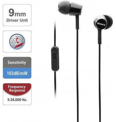 Sony MDR-EX155AP In-Ear Earphone Headphone with Microphone