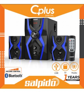 Salpido G3X 2.1 Channel Bluetooth Speaker with Remote Control, Support for USB , SD Cards, Radio Funcitons