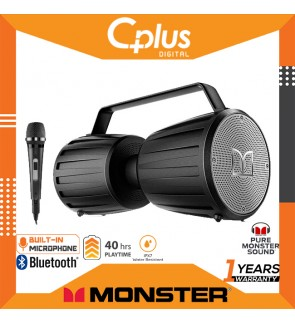 Monster Adventurer Force Bluetooth 5.0 Outdoor Portable Speaker with Microphone , 40W Amplifier Deliver Dynamic Stereo Sound, UP to 40 hours Playtime