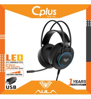 AULA S601 USB Gaming Headphone with 7-Color Breathing Light,360 Omnidirectional Microphone,50mm Speaker