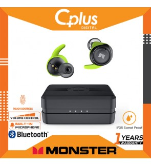 Monster iSport Champion True Wireless Earbuds, Bluetooth 5.0 Auto Pairing Headphones with Charging Case, AptX Stereo Bass Sound, CVC 8.0 Noise Cancellation, IPX8 Waterproof, USB-C Quick Charge