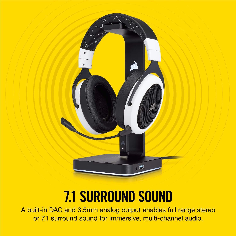 CORSAIR ST100 RGB Premium Headset Stand 7.1 Surround Sound 3.5mm and 2xUSB 3.0